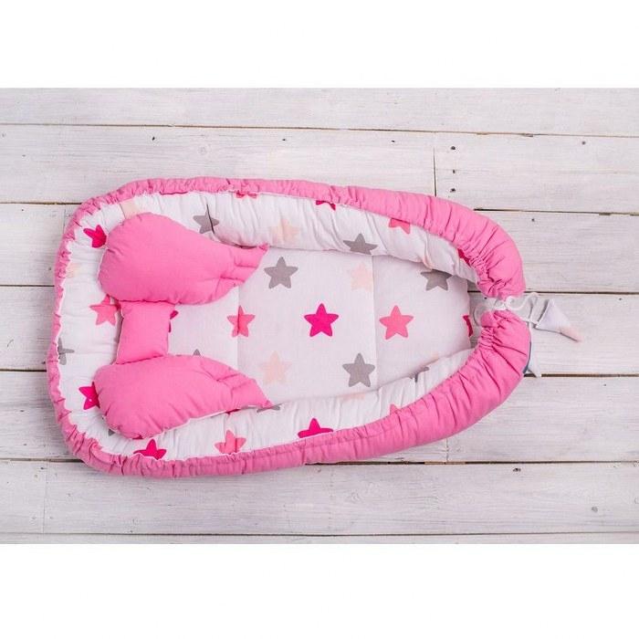 BABY COCOON-GNEZDECE Z OPORO ZA GLAVO 75*45 cm, zvezde roza