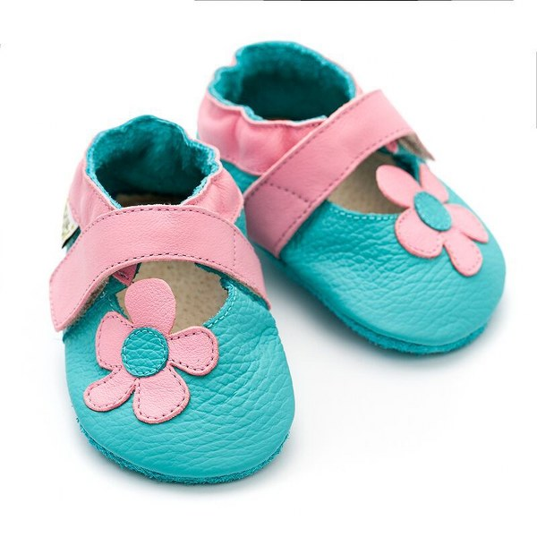 LILIPUTI® SOFT BABY USNJENI SANDALI LOTUS, turkizno roza