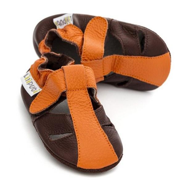 LILIPUTI® SOFT BABY USNJENI SANDALI MARS, oranžno rjavi