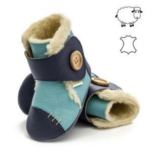 Usnjeni otroški škornji z volno